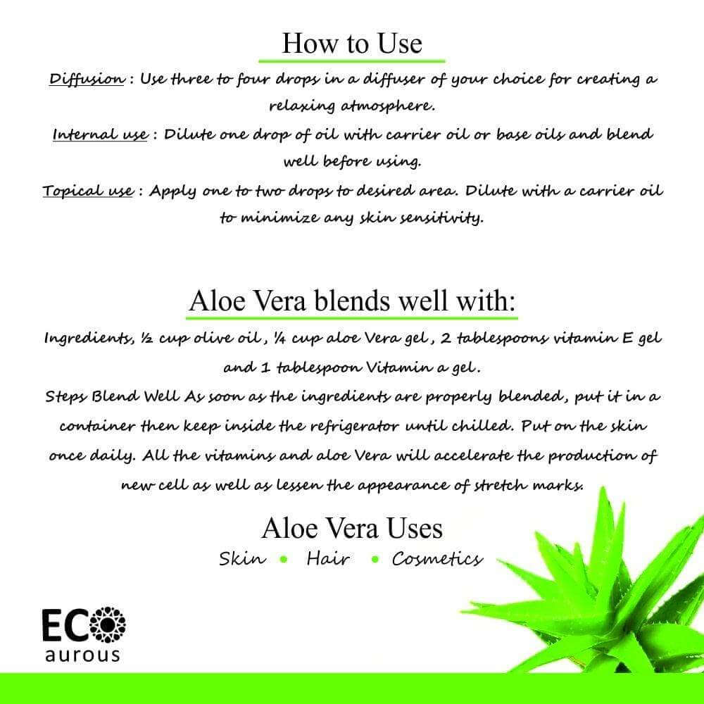 Buy Aloe Vera Essential Oil 100% Natural & Organic For Hair, Skin Online - Eco Aurous