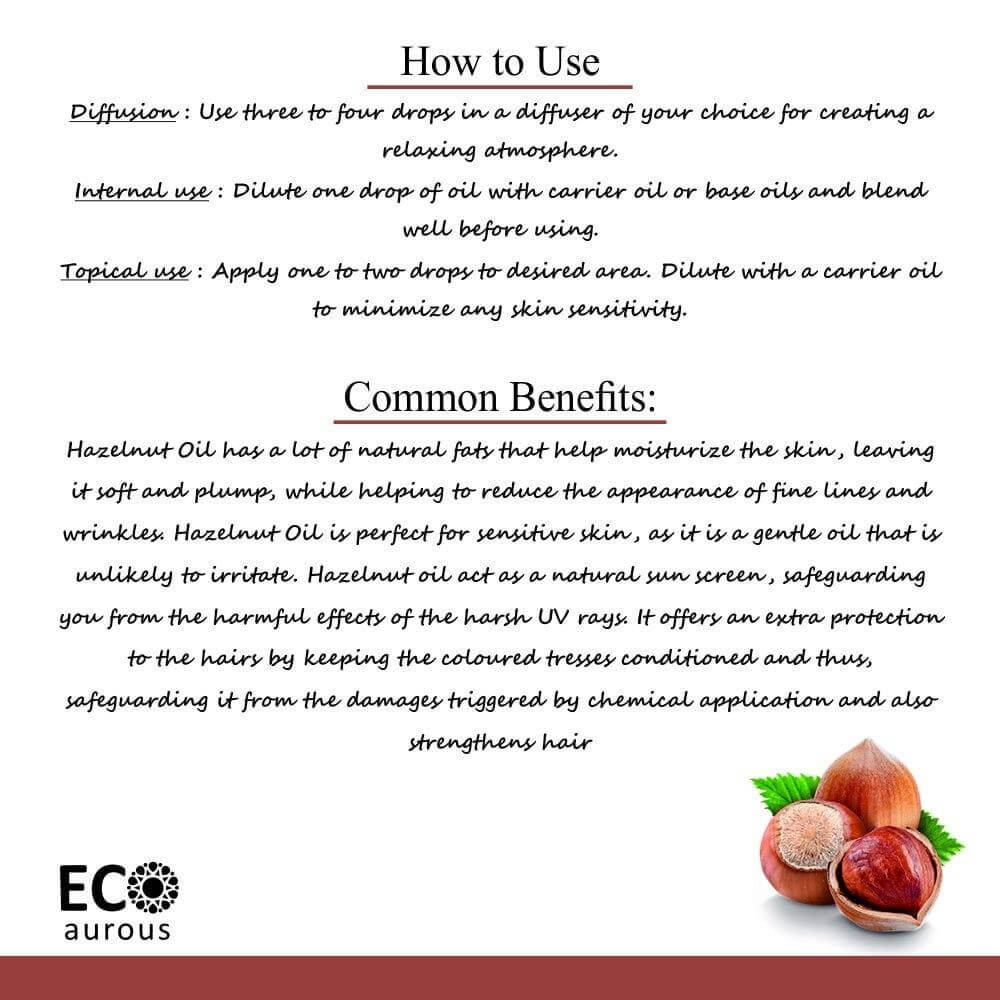 Buy Organic Cold Pressed Hazel Nut Oil 100% Natural For Skin, Hair Online - Eco Aurous