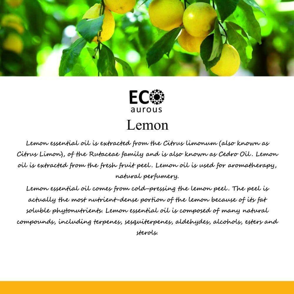 Buy Organic Lemon Essential Oil 100% Natural For Skin & Wood Online - Eco Aurous
