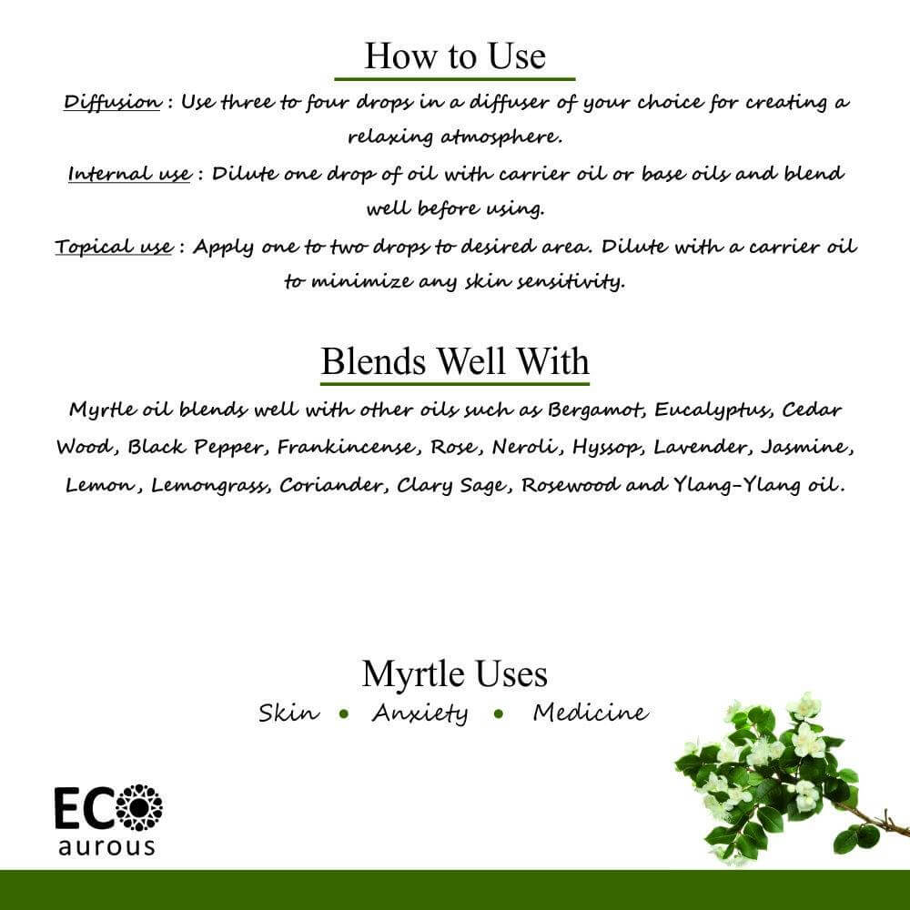 Buy Organic Myrtle Essential Oil 100% Natural For Diffuser Online - Eco Aurous