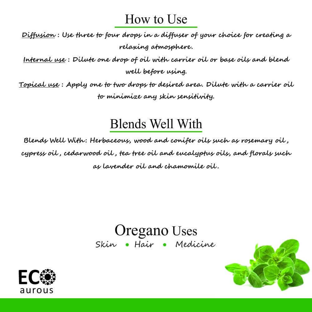 Buy Oregano Essential Oil 100% Natural & Organic for Skin, Hair Online - Eco Aurous