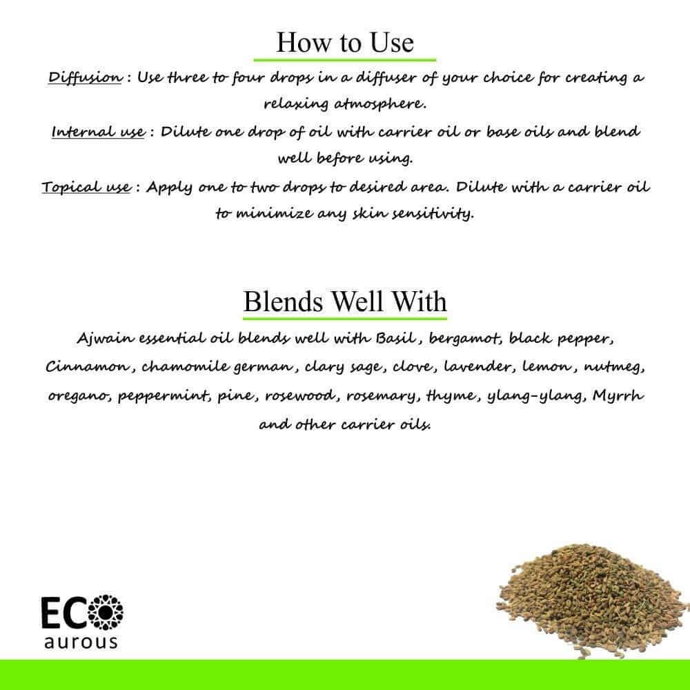 Buy Ajwain Essential Oil 100% Natural & Organic Ajowain Oil Online - Eco Aurous
