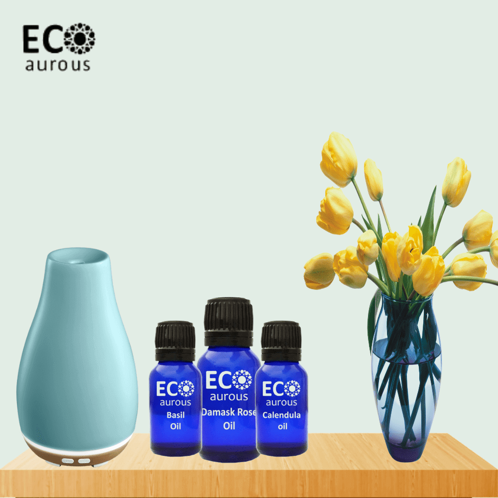 Floral Gift Set of 4 Premium Grade Essential Oil - Tuberose, Jasmine, Lotus & Lily Oil 10ml Each by Eco Aurous - Eco Aurous