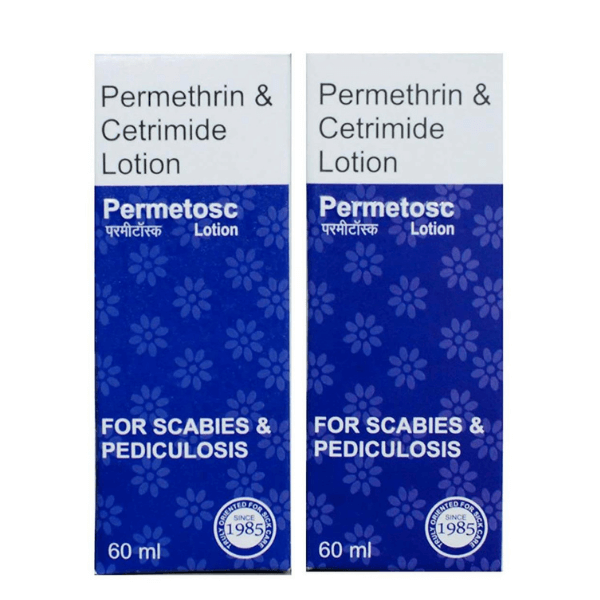 Anti Lice Permethrin Permetosc Anti-Tick Lotion, (60 ml Each)